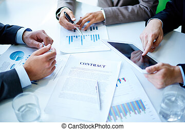 Business meeting - Image of business documents, touchpad,...