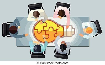 Business meeting strategy brainstorming concept. Vector illustration in an aerial view with people sitting in an office around a conference table solving idea light bulb puzzle
