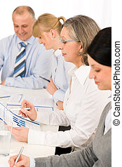 Business meeting team examining sales report