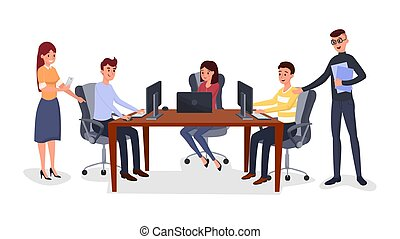 Business meeting, team management illustration
