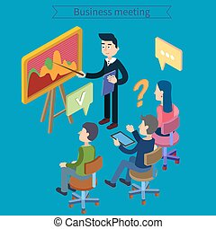 Business Meeting. Team Working. Man with Tablet. Work Planning. Office Life. Training Course. Isometric Concept
