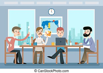 Business meeting. Team working office. Vector illustration in flat style