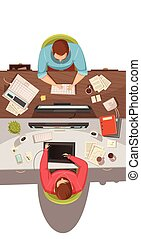 Business Meeting Top View Design Concept