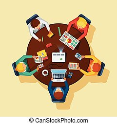 Business briefing meeting top view office round wooden table with tablet calculator projector and notebook flat vector illustration