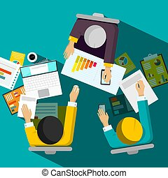 Business Meeting Top View Vector Design with Businessmen Sitting in Office Room