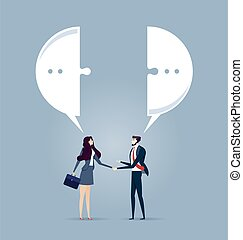 Business meeting with a handshake and speech bubble