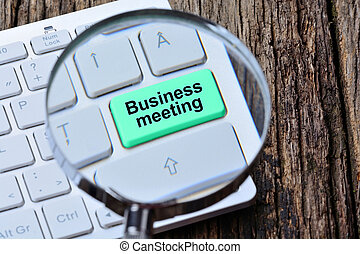 Business meeting words on keyboard button