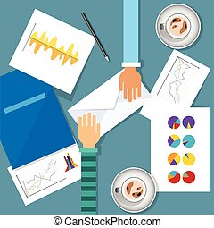 Business Meeting Workplace Finance Graph Charts Document Desk