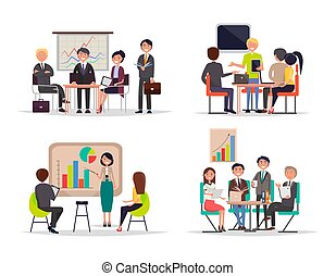 Business Meetings Collection Vector Illustration
