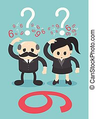 Business men and women expressing skepticism and scratching about a 9 or 6 number puzzle.
