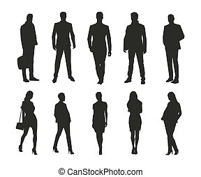 Business men and women, group of isolated business people vector silhouettes