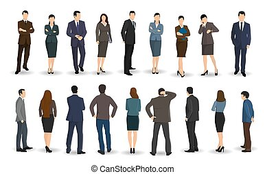 Business men and women stand facing or back