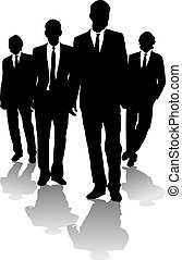 Four business men in a arrow shape in black and white