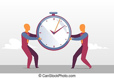 Business men challenge for the best sales timing