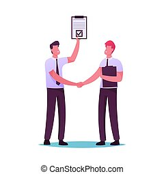 Business Men Characters Handshaking. Partners and ...