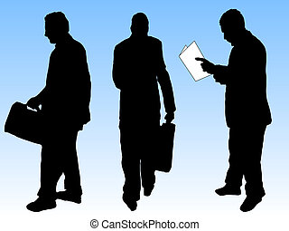 Business men silhouettes in various poses