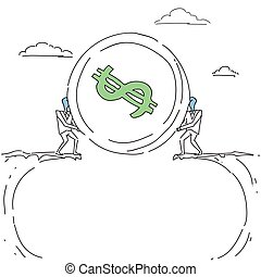 Business Men Giving Coin Over Cliff Gap Partners Teamwork Financial Cooperation Concept Doodle