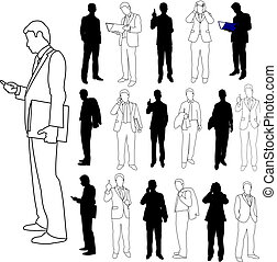 Illustrations set of business men in silhouette and line drawing styles