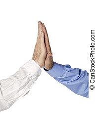 business men hands high five