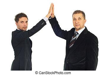 Business men high five