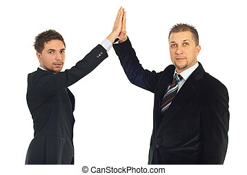 Business men high five