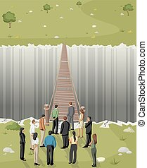 Business men in front of a bridge - Business men in front of...