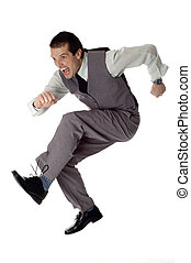jump - business men jumping on white - success concept
