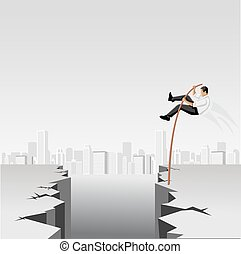 Business men jumping over abyss with high pole