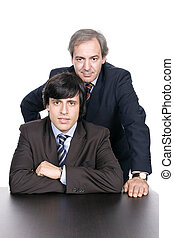 Business men portrait, father and son, isolated over white...