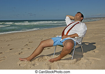 Business men relaxing on the beach !