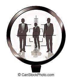 business men rifle target