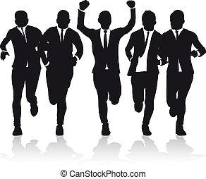business men running silhouettes