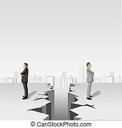 men separated by cracked floor - Business men separated by...