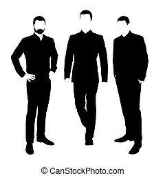 Business men, set of vector silhouettes