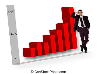 graph - business men standing beside big graph concept