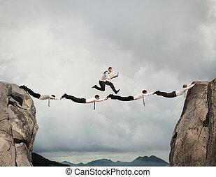 Business men support bridge
