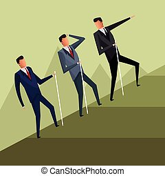 business men team climb growth