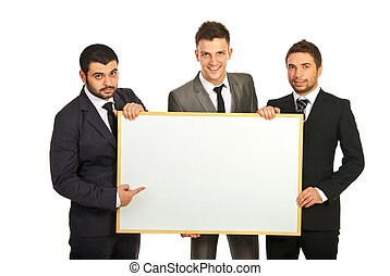 Business men team with banner - Happy business men team...
