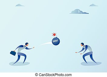 Business Men Throwing Each Other Bomb Credit Debt Finance Crisis Concept