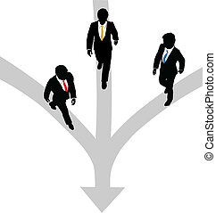 Business men walk 3 paths together toward one
