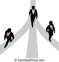 Business men walk diverge on 3 paths - Three business men...