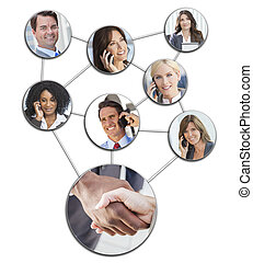 Team communication montage of interracial successful business people, men and women using mobile cell phones to social network