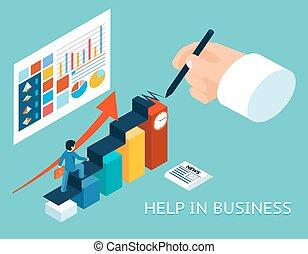 Business mentor help partner. Isometric 3d vector...