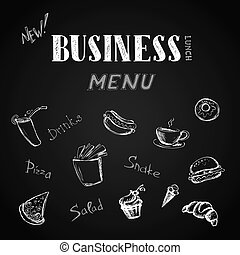 Business menu, hand drawn lettering