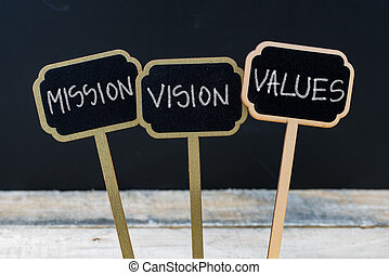 Business message MISSION, VISION, VALUES written with chalk ...