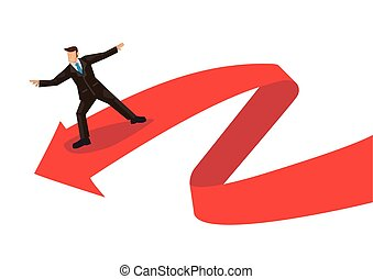 Business metaphor of businessman surfing on a red arrow wave. Concept of exploring the volatile financial stock exchange market. Vector illustration