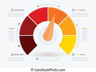 Business meter or business indicator, infographic design template for brochure, web or presentation with. Abstract Rating, Quality control vector illustration.