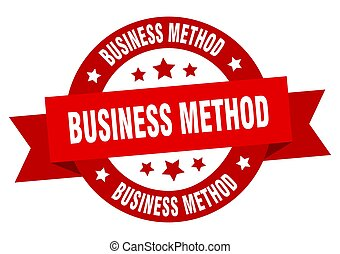 business method round ribbon isolated label. business method...
