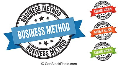 business method stamp. round band sign set. label - business...