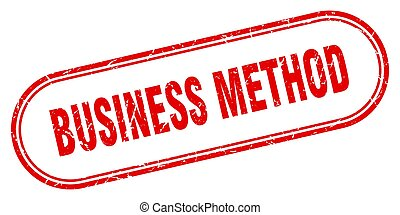 business method stamp. rounded grunge textured sign. Label...